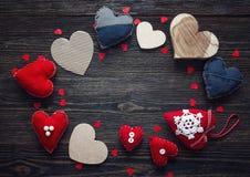 Fundo com quadro redondo de corações diferentes Espaço para o texto Imagens de Stock Royalty Free