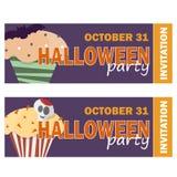 Fundo com queque de Dia das Bruxas - convite party ou cartão Ilustração do Vetor
