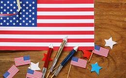 Fundo com símbolos de América - celebração do 4 de julho Imagem de Stock