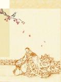 Fundo com senhora japonesa ilustração royalty free