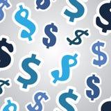 Fundo com sinais de dólar - projeto de conceito do negócio Fotos de Stock