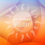 Fundo com sol, projeto liso das férias de verão ilustração do vetor