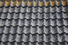 Fundo com teste padrão cerâmico ondulado do telhado Fotografia de Stock