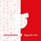 Fundo com teste padrão do símbolo do Natal Moldes do cartão do Natal e do ano novo - bola Imagens de Stock Royalty Free