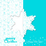 Fundo com teste padrão do símbolo do Natal Moldes do cartão do Natal e do ano novo - floco de neve Fotografia de Stock Royalty Free