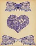 Fundo com testes padrões e coração ilustração stock