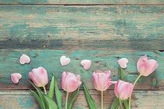 Fundo com tulipas e corações cor-de-rosa na boa de madeira do grunge azul Foto de Stock