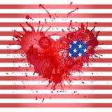 Fundo com um coração para o feriado o 4 de julho  ilustração do vetor
