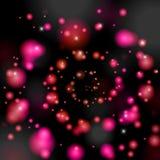 Fundo com um redemoinho de bolas luminosas da cor cor-de-rosa ilustração do vetor