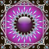Fundo com um teste padrão feito do gla da pedra preciosa e da prata Fotos de Stock Royalty Free