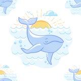 Fundo com uma baleia no mar ilustração do vetor