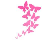Fundo com uma beira do voo das borboletas. Fotos de Stock Royalty Free