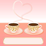 Fundo com uma chávena de café e um coração ilustração royalty free