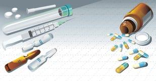 Fundo com uma seringa médica, tabuletas ilustração royalty free
