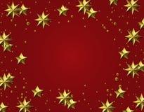 Fundo comemorativo Folha de ouro Estrelas em um fundo vermelho Cartão de Natal Ilustração Fotos de Stock