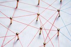 Fundo Conceito abstrato da rede, meio social, Internet, trabalhos de equipa, uma comunicação Pregos ligados junto perto Fotografia de Stock Royalty Free