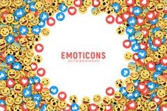 Fundo conceptual moderno liso de Emoji do vetor ilustração royalty free