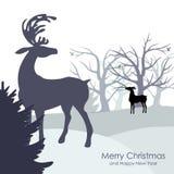 Fundo congratulatório com floresta e cervos do inverno Imagem de Stock Royalty Free