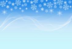Fundo consideravelmente azul com flocos de neve brancos e Imagens de Stock