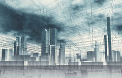 Fundo contemporâneo abstrato da cidade ilustração stock