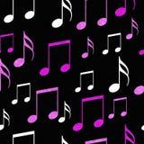 Fundo cor-de-rosa, branco e preto da repetição do teste padrão da telha das notas da música ilustração stock