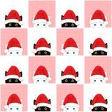 Fundo cor-de-rosa branco preto do Natal da placa de Cat Chess ilustração do vetor