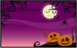Fundo cor-de-rosa com abóboras em um tema de Halloween ilustração do vetor