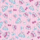 Fundo cor-de-rosa com borboletas, ilustração Fotos de Stock Royalty Free