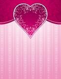 Fundo cor-de-rosa com coração grande Fotografia de Stock Royalty Free