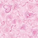 Fundo cor-de-rosa com corações do scribble,   Fotos de Stock