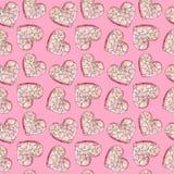 Fundo cor-de-rosa com corações Teste padrão da cor de água ao dia dos amantes Foto de Stock Royalty Free