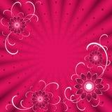 Fundo cor-de-rosa com flores Imagens de Stock