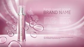 Fundo cor-de-rosa com hidratar produtos superiores cosméticos ilustração do vetor