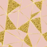 Fundo cor-de-rosa com linhas e sparkles do ouro ilustração do vetor