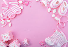 Fundo cor-de-rosa do berçário da festa do bebê Imagem de Stock