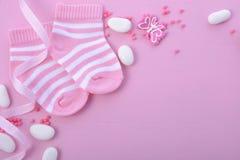 Fundo cor-de-rosa do berçário da festa do bebê Imagens de Stock
