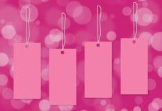 Fundo cor-de-rosa do bokeh da etiqueta Fotografia de Stock