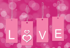 Fundo cor-de-rosa do branco da etiqueta do amor Fotografia de Stock Royalty Free