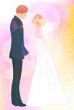 Fundo cor-de-rosa do casamento com pares ilustração stock