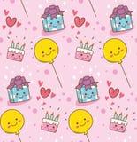 Fundo cor-de-rosa do kawaii do aniversário ilustração royalty free