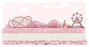 Fundo cor-de-rosa do parque de diversões imagem de stock