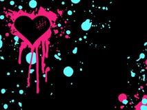 Fundo cor-de-rosa e azul do coração do emo Fotos de Stock
