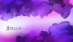 Fundo cor-de-rosa e violeta da aquarela Foto de Stock Royalty Free