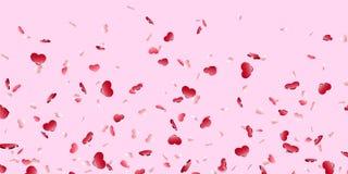 Fundo cor-de-rosa isolado confetes de queda do cora??o Corações vermelhos da queda Decora??o de Valentine Day Projeto do elemento ilustração stock
