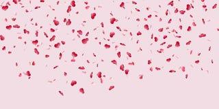 Fundo cor-de-rosa isolado confetes de queda do cora??o Cora??es vermelhos da queda Decora??o de Valentine Day Projeto do elemento ilustração stock