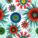 Fundo coral abstrato sem emenda do teste padrão das estrelas e de flores Imagem de Stock Royalty Free