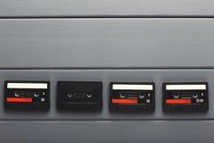 Fundo criativo com as cassetes áudio de cores diferentes Foto de Stock Royalty Free