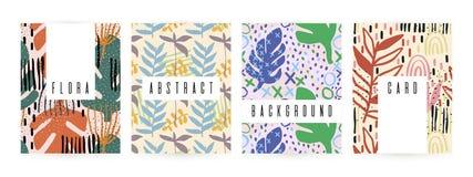 Fundo criativo com elementos florais e texturas diferentes collage Projeto para o cartaz, cartão, convite, cartaz, folheto, ilustração do vetor