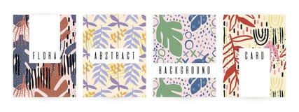 Fundo criativo com elementos florais e texturas diferentes collage Projeto para o cartaz, cartão, convite, cartaz, folheto, ilustração royalty free