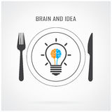 Fundo criativo da ideia da ampola e do conceito do cérebro Imagens de Stock Royalty Free